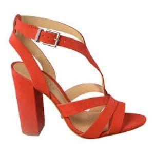 SCHUTZ Shoes - Schutz Orange Heeled Sandals Size 8.5 NWT